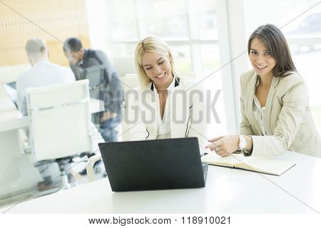Two business women working on a laptop