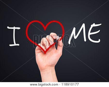 Man Hand Writing I Love Me On Visual Screen