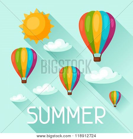Summer background with hot air balloons. Image for advertising booklets, banners, flayers, article,