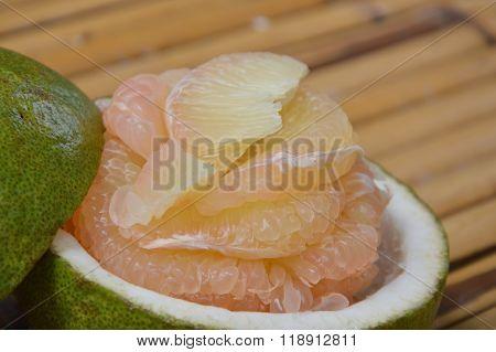pomelo Thai fruit on bamboo