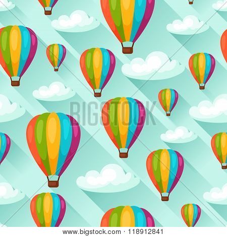 Seamless travel pattern with hot air balloons. Background made without clipping mask. Easy to use fo