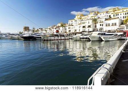 MARINA OF PUERTO BANUS - CIRCA OCTOBER 2015 - Luxurious yachts in Puerto Banus near Marbella on Costa del Sol, Andalusia, Malaga province, Spain