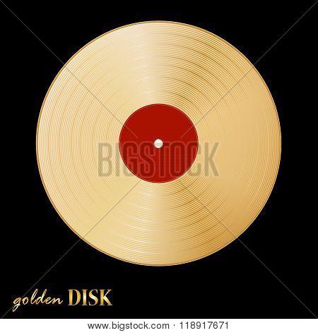 Gold Disk Vinil On Black Background. Vector Illustration