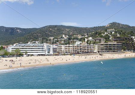 Spain. A Beach In The Resort Tossa De Mar.