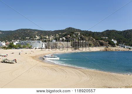 Spain. A Beach On Tossa De Mar.