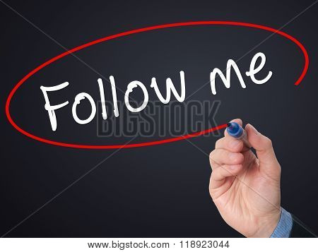 Man Hand Writing Follow Me With Marker On Visual Screen