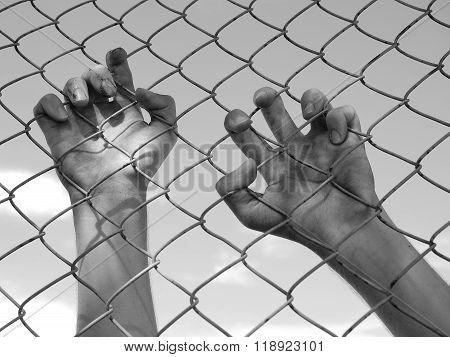 Dirty and discolored hand clinging to a steel wire fence, black and wh
