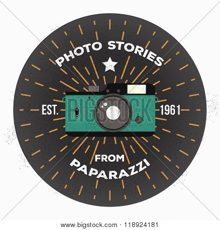Vintage retro camera. Vector illustration. Flat style. Photography label retro studio and mass media