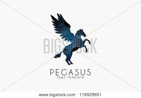 Cosmic pegasus. Pegasus logo. Creative logo. Stars and planets logo.
