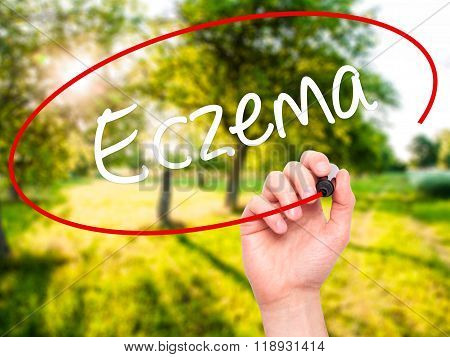 Man Hand Writing Eczema With Black Marker On Visual Screen