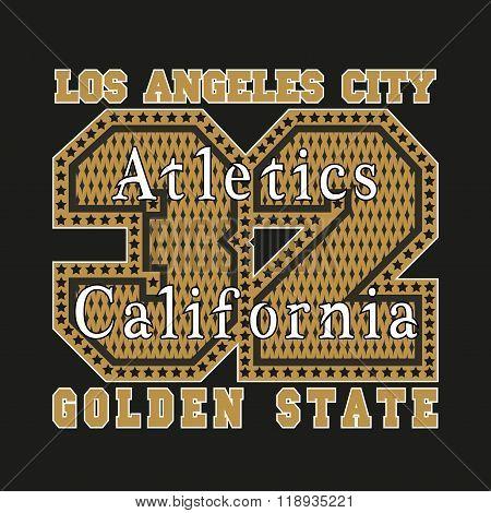 Los Angeles CA, atletics, golden, fashion Typography