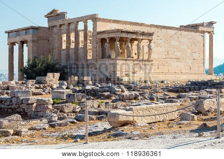 Architecture of ancient temple Erechteion in Acropolis, Athens, Greece