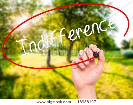 Man Hand Writing Indifference  With Black Marker On Visual Screen