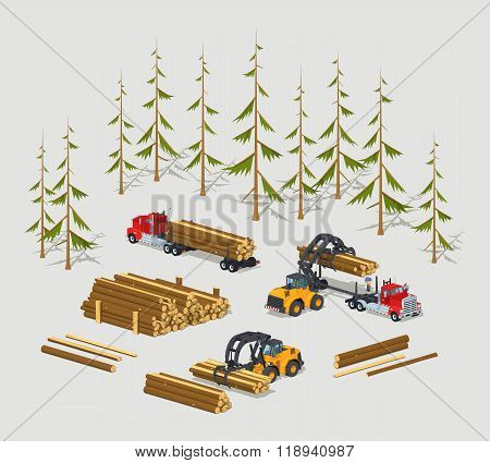 Lumber stock. Logs loading on trucks
