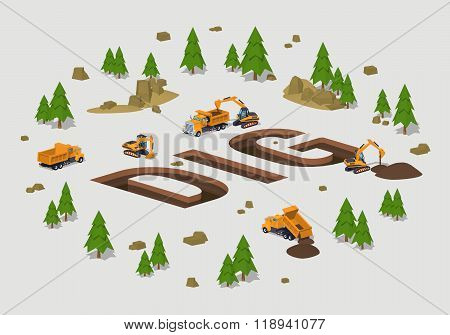 The trenches in the form of the word Dig