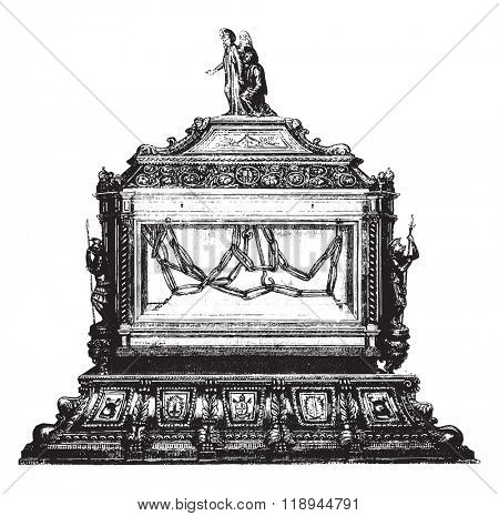 The Tabernacle of the chains of St. Peter, in the church of St. Peter in Chains in Rome, vintage engraved illustration. Magasin Pittoresque 1880.