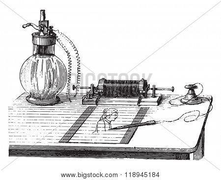 Voltaic pencil, vintage engraved illustration. Magasin Pittoresque 1880.