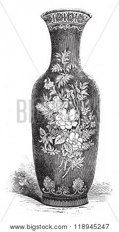 Manufacture de Sevres, vase decorated with large fire, vintage engraved illustration. Magasin Pittoresque 1880.