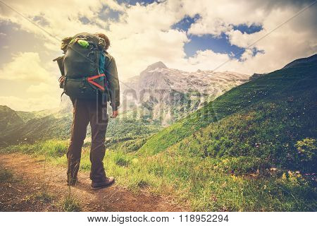 Traveler Man with backpack hiking Travel Lifestyle concept