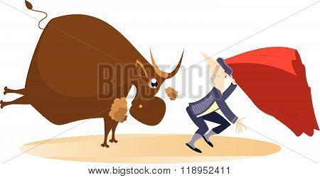 Bullfight. Angry bull pursues the bullfighter illustration