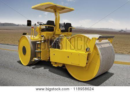 Road Roller Compacting Asphalt