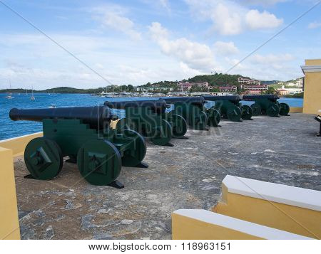 Cannons On Top Of The Roof Of Ft. Christiansted
