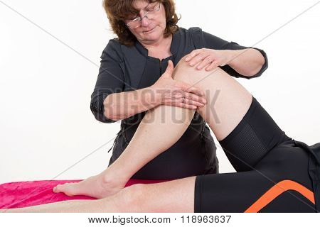 Rehab Training For Knee And Hamstring Muscle With Physical Therapist