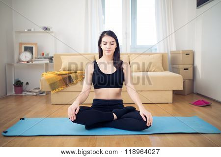 Meditation.Healthy living.Living room for after work relaxation and exercise