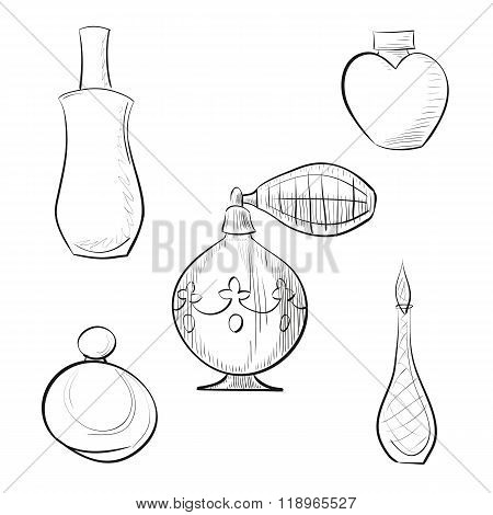 Vector illustration perfume sprayer and four perfume bottles hand drawn outline set