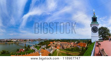 Novi Sad panorama - Serbia - architecture travel background poster