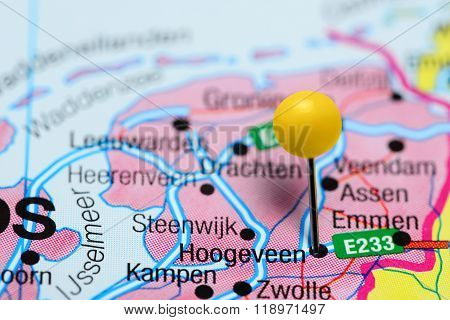 Hoogeveen pinned on a map of Netherlands