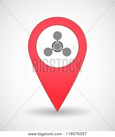 Map Mark Icon With A Chemical Weapon Sign