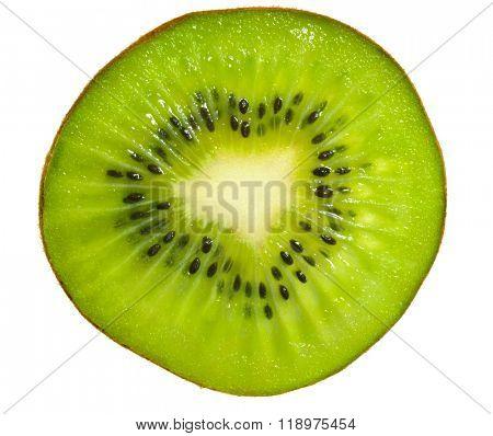 Slice of kiwi fruit. Isolated on white background.