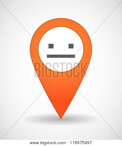 Map Mark Icon With A Emotionless Text Face