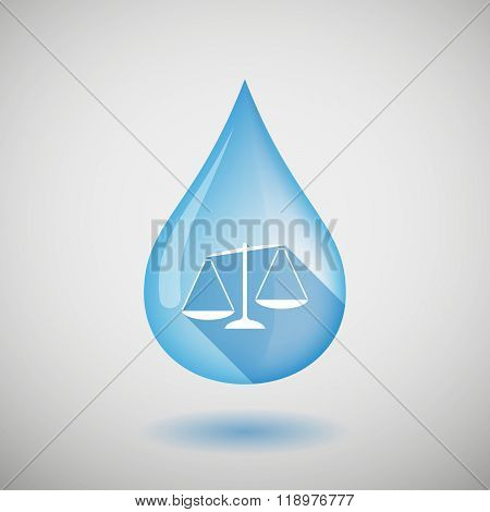 Long Shadow Water Drop Icon With A Drachma Currency Sign