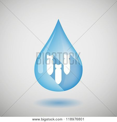 Long Shadow Water Drop Icon With Three Bombs Falling