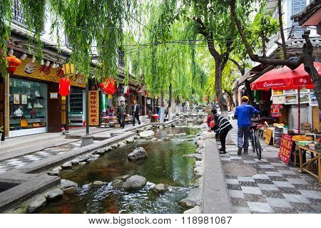 DALI, CHINA - April 27, 2015: Dali ancient town in Yunnan, China. Dali is one of the most beautiful cities of China with a rich culture and history.