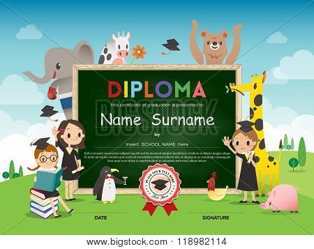 School Kids Diploma Certificate Template With Animal Cartoon Frame Border And Green Chalk Board