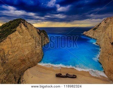 Dramatic view of beautiful Shipwreck Bay in stormy weather, Navagio Beach on Zakynthos Island in Greece
