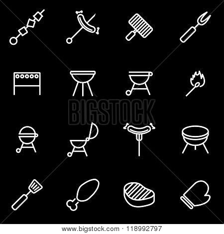 Vector line barbecue icon set
