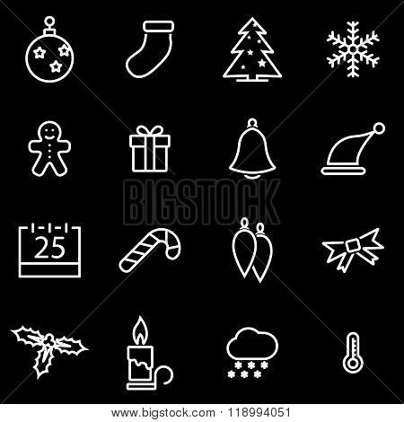 Vector line christmas icon set