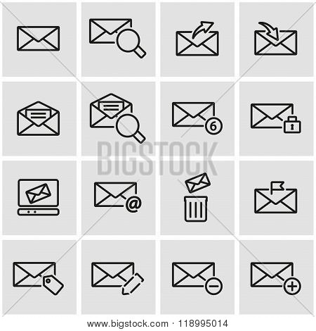 Vector line email icon set
