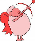 this illustration depicts a pink sheep with wings and shooting a heart-tipped arrow. poster
