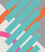 Abstract retro 80s background with geometric shapes and pattern. Material design. Eps10 vector illustration. poster