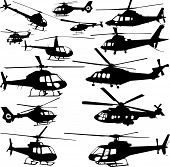 vector silhouette of different helicopters on a white background poster