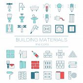 Big set of modern thin line  color icons building materials. Pictograms for DIY shop, construction and building materials. Vector illustration. poster