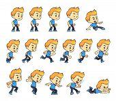 Blue Shirt Boy game sprites for side scrolling action adventure endless runner 2D mobile game. poster
