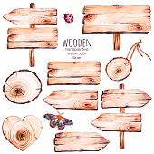 This handpainted collection of 9 watercolor wood slices clipart.Wood pointer, board,wooden heart,butterfly in watercolor.Can be used for frames,invitations,lettering,wedding,greeting cards and more. poster