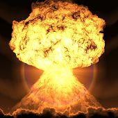 nuclear bomb explosion rendered with 2D program poster