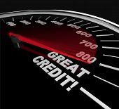 The needle on a speedometer points to great credit scores speeding up to and past 800 poster